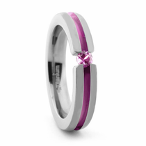 Titanium & Pink Sapphire Stackable Ring