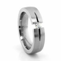 Titanium Ring with Diamond Tension Set Diamond
