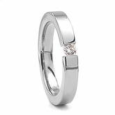 Titanium Ring with Tension Set Diamond