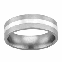 Titanium & Sterling Silver Flat Band