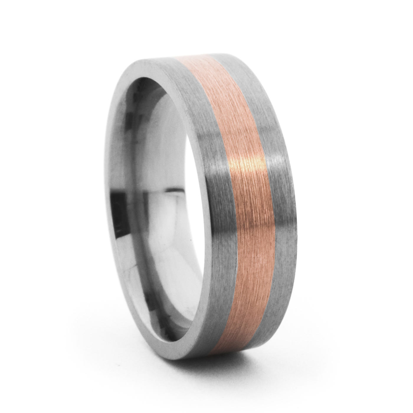 7MM Titanium & Rose Gold Band – Lashbrook – Mens Titanium Rings
