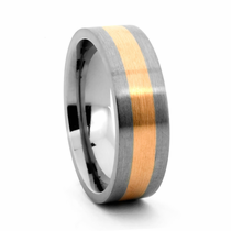 Titanium Wedding Band with 14K Yellow Gold Inlay