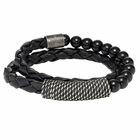 TRITON Black Obsidian and Woven Leather Bracelet