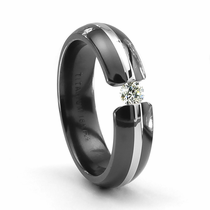 TRITON  Black Titanium Ring with 18K White Gold & Tension Set Diamond