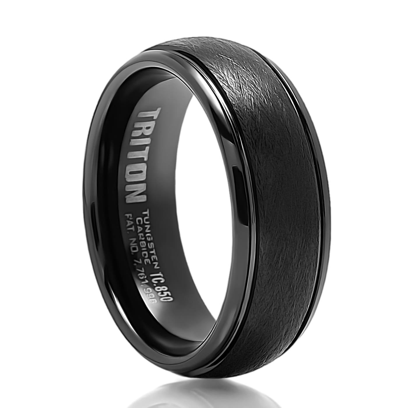 stone zirconium heavy black rings band