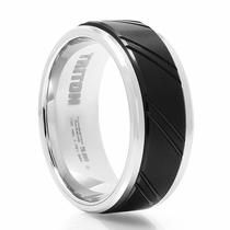 TRITON Black & White Tungsten Wedding Band Slant