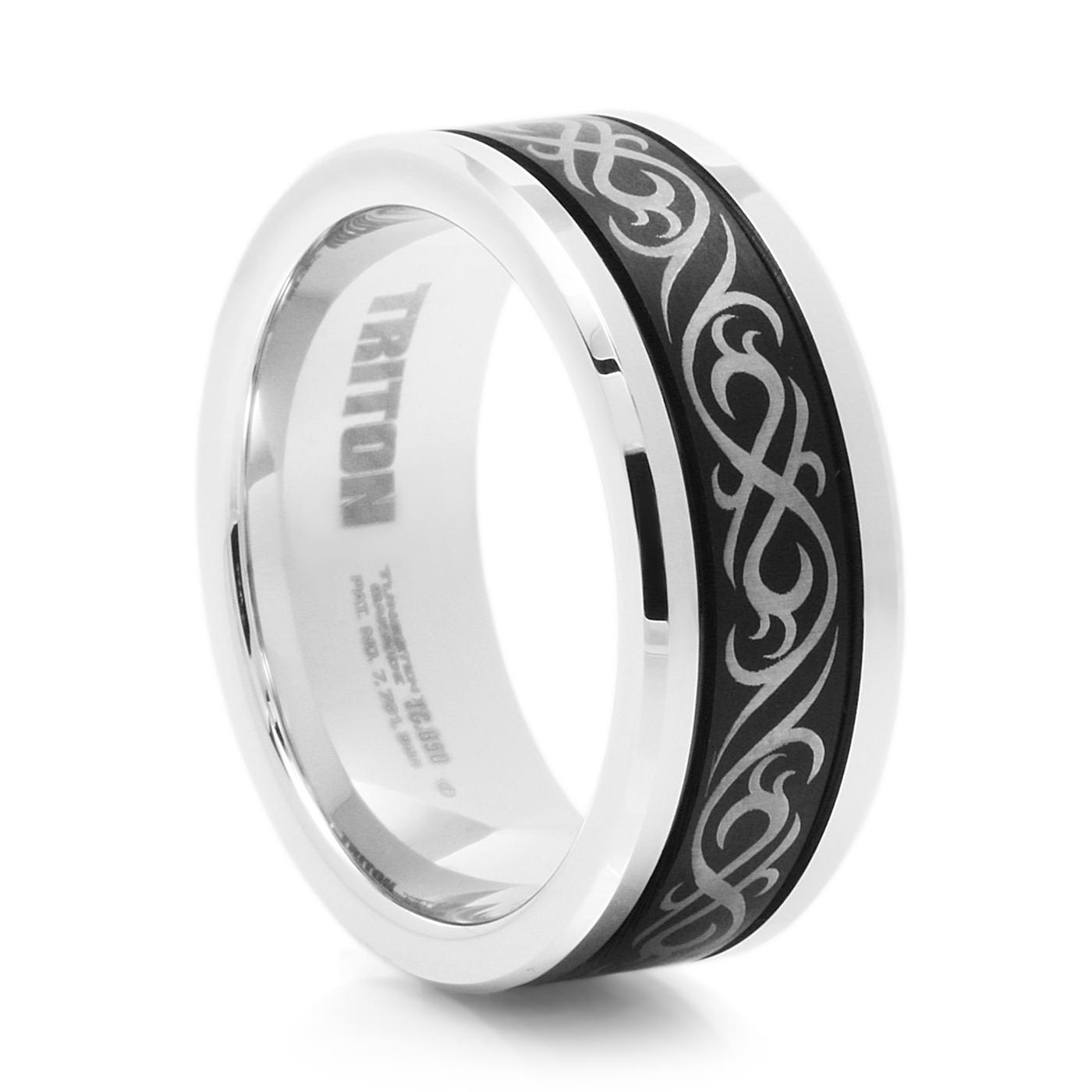 band loading tungsten rings beveled carbide ring wedding zoom and black white