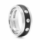 TRITON Black  & White Tungsten Wedding Band With Diamonds Cosmos