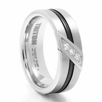 TRITON Black & White Tungsten Wedding Band With Diamonds Flux