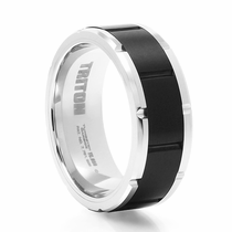 TRITON Black & White Tungsten Wedding Band - Brick Design