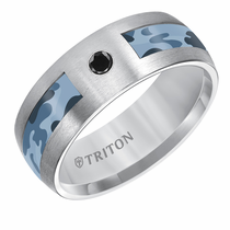 Triton Grey Tungsten Blue Camo Inlay with Black Diamond Ring