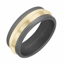 Triton RAW Tungsten and 14K Yellow Gold Knife Edge Ring