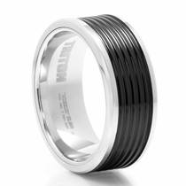 "TRITON Ribbed Black  & White Tungsten Ring - ""Apex"""