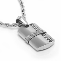 TRITON Stainless Steel & Sterling Silver Necklace With Black Diamonds