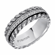 Triton Sterling Silver Twisted Diamond Ring