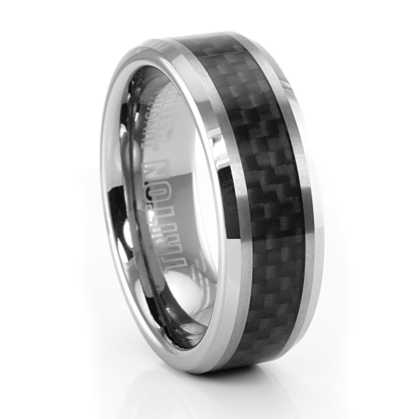 insert wedding with ring interior grain steel damascus carbon wood demascus rings products forged fiber
