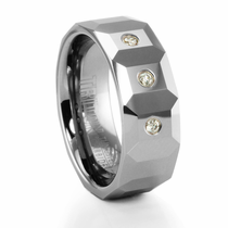 TRITON Tungsten and Diamond Faceted Ring