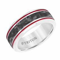 Triton Tungsten Carbide Carbon Fiber Inlay with Red Grooves Ring