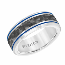 Triton Tungsten Carbide Carbon Fiber Inlay with Blue Grooves Ring