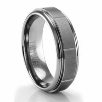 TRITON Tungsten Ring with Raised Satin Finished Center