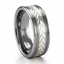 TRITON Wheat Design Sterling Silver and Tungsten Ring