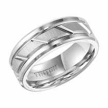 Triton White Tungsten Carbide Grooved Ring