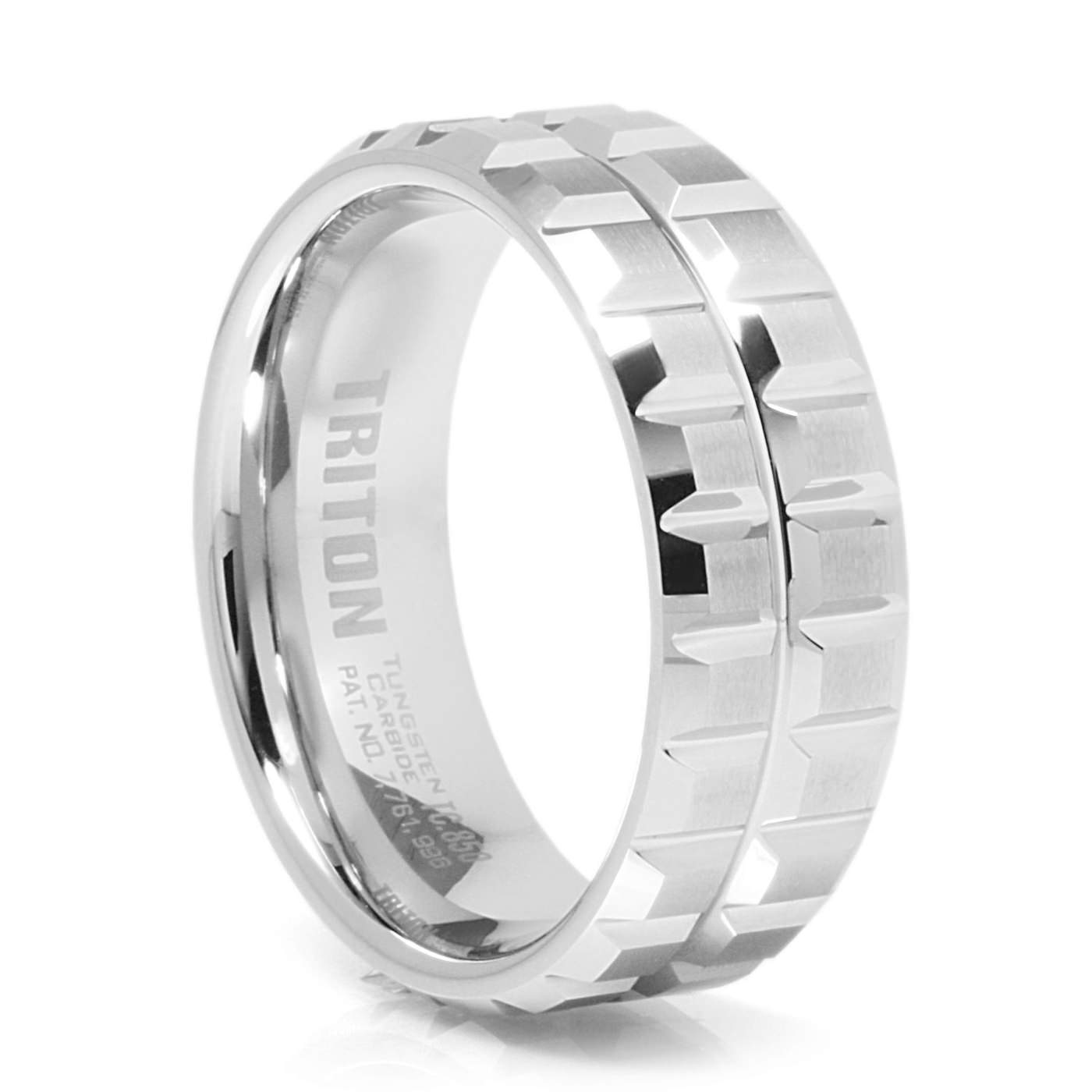 Sprocket Men S White Tungsten Carbide Band By Triton