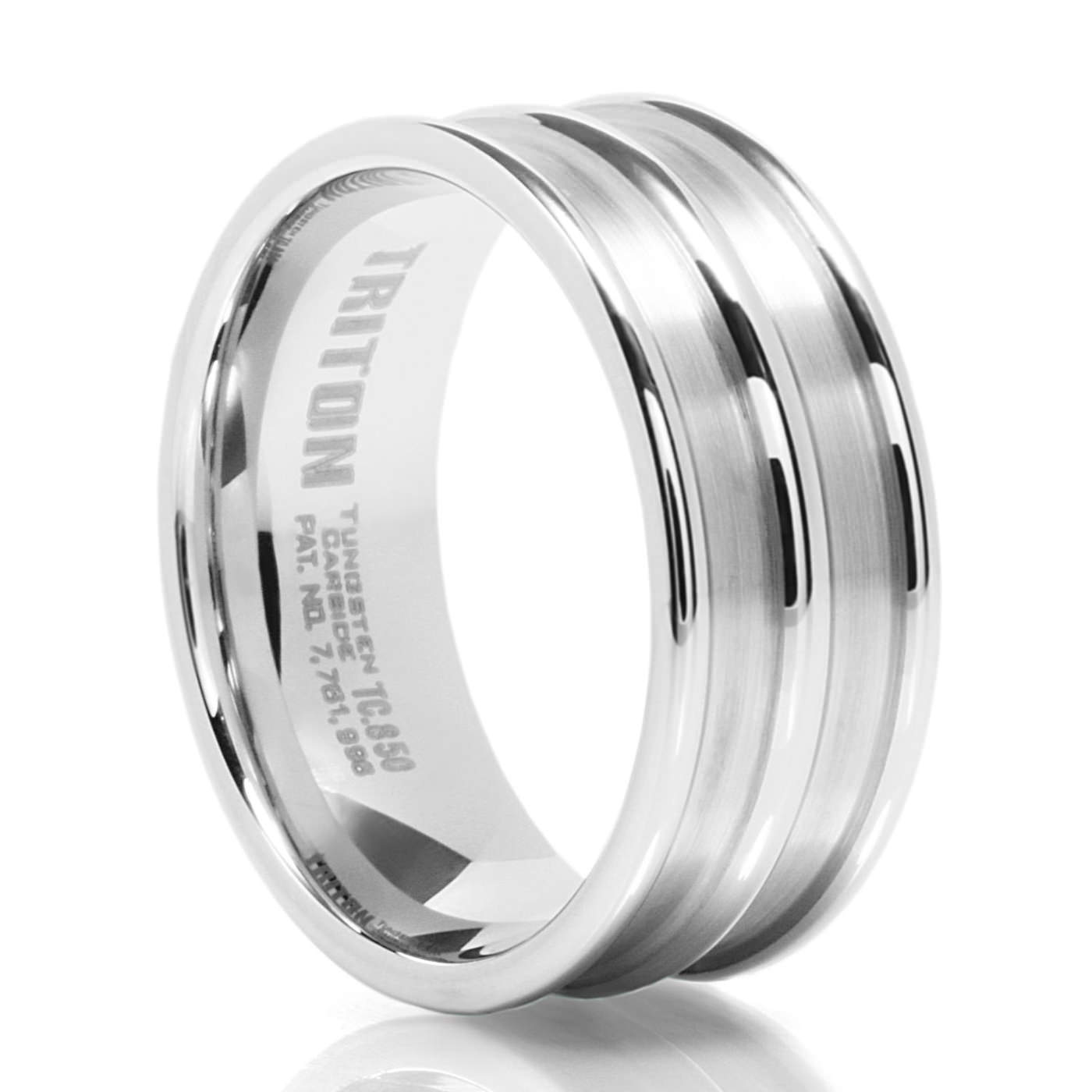 ULYSSES 9MM Ribbed White Tungsten Band – Triton – Men s Wedding Bands
