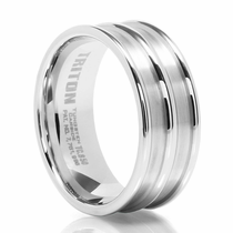 TRITON White Tungsten Carbide Wedding Band Ulysses