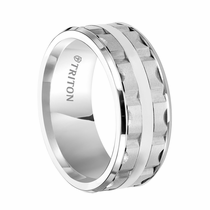 Triton White Tungsten Ring with Matrix Design - Neo