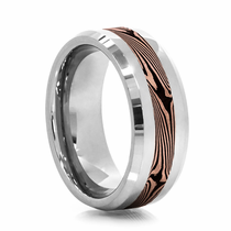 Tungsten Ring with 14kt Rose Gold & Shakudo Copper Mokume Gane Inlay by Heavy Stone Rings
