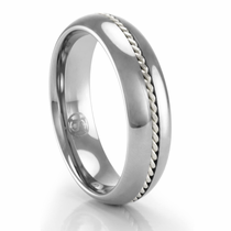 Tungsten Ring with Palladium Braid 6mm Ring by Heavy Stone Ring