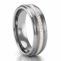 Tungsten Ring with Sterling Silver Beaded Inlay by TRITON