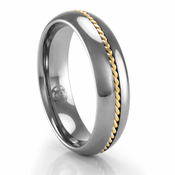 Tungsten Ring with Yellow Gold Braid 6mm Ring by Heavy Stone Rings