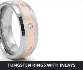 Tungsten Rings - with Gold, Platinum or Silver