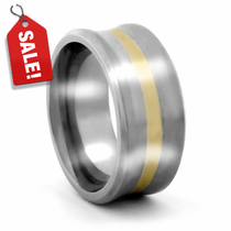 Ultra Wide Concave Titanium Band with 18K Yellow Gold