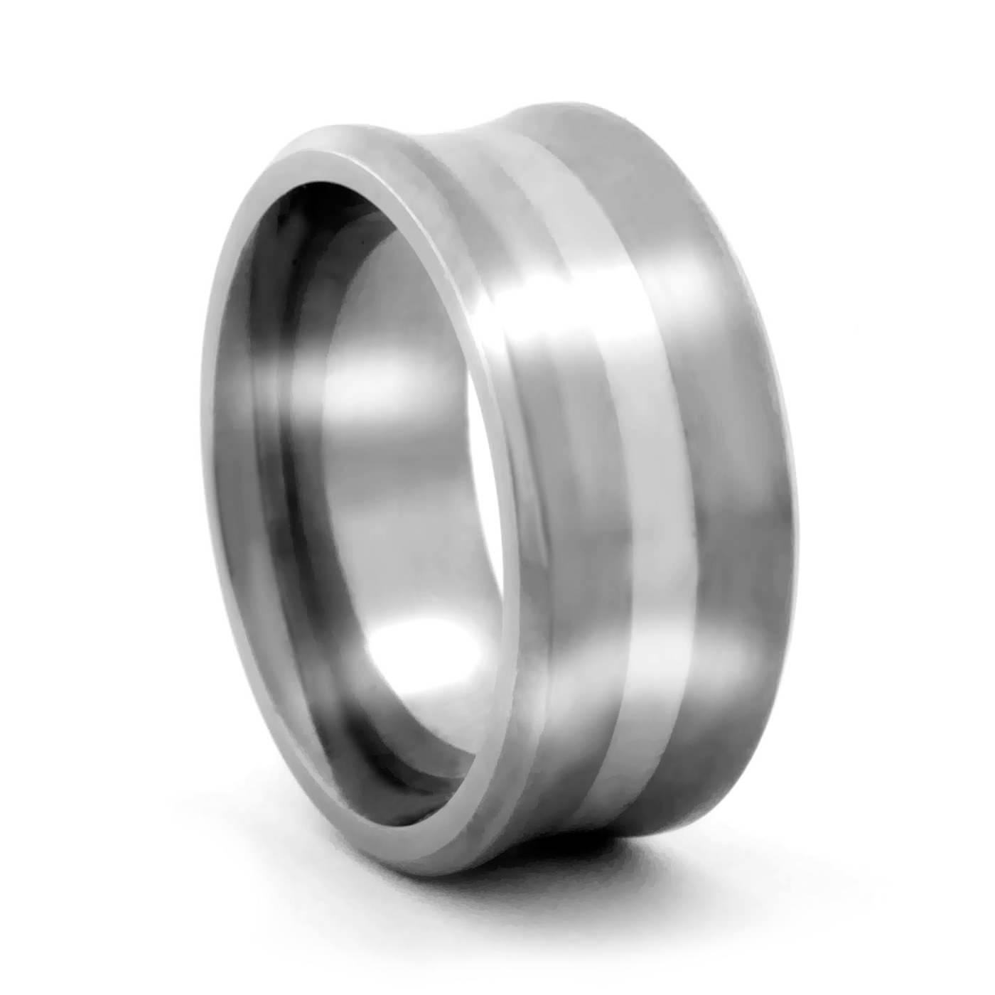 9MM Concave Ring with Silver – Lashbrook – Men s Titanium Rings