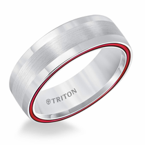 White Tungsten Air Fire Red Domed Ring by Triton