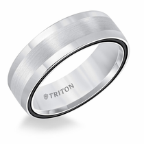 White Tungsten Air Midnight Black Domed Ring by Triton