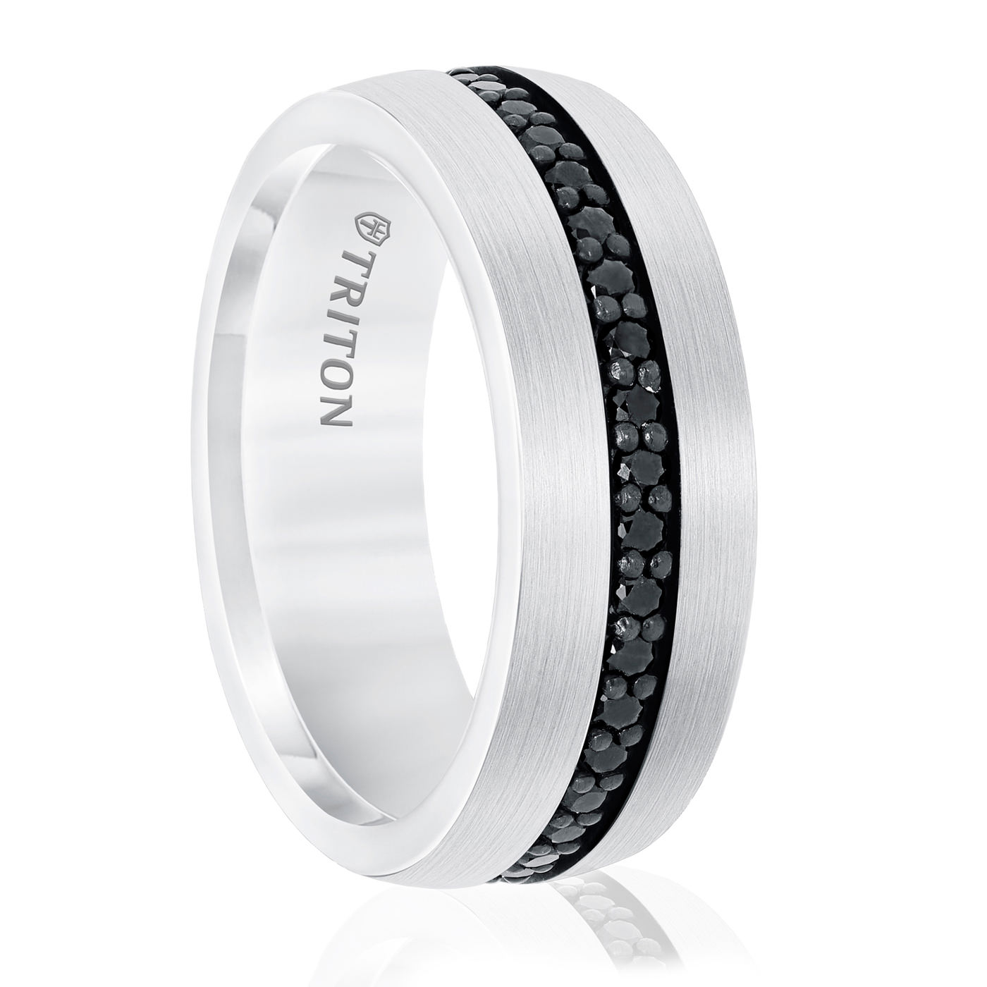 Triton Black Sapphire & White Tungsten Ring - 8MM
