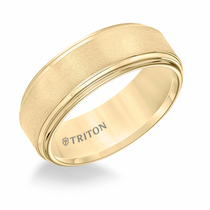 Yellow Tungsten 8mm Double Step Edge Ring by Triton