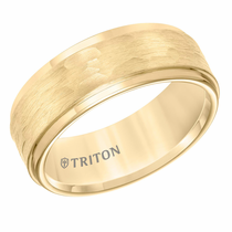 Yellow Tungsten 8mm Hammered Ring by Triton