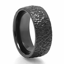 ZABODA Hammer Finish Black Zirconium Ring