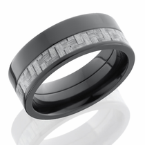 Zirconium and Carbon Fiber Inlay Ring by Lashbrook Designs