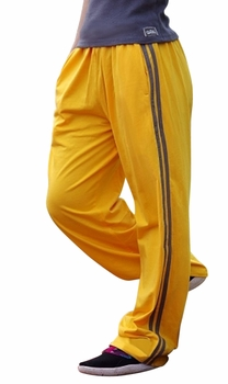 Crazee Wear Stripe Relaxed Fit Pants- Yellow Grey