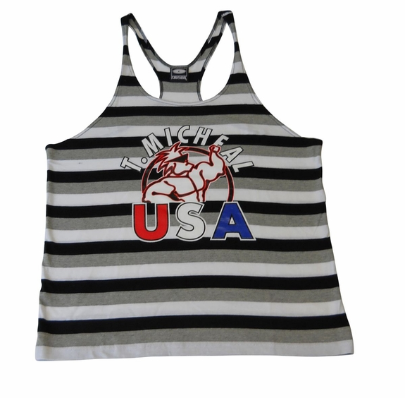 "T. MIcheal ""USA"" Striped Stringer Tank Top"