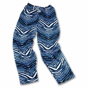 Zubaz Pants: Black/Fluorescent Blue Zubaz Zebra Pants