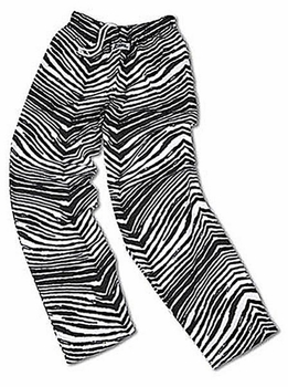 Zubaz Pants: Black/Metallic Silver Zubaz Zebra Pants