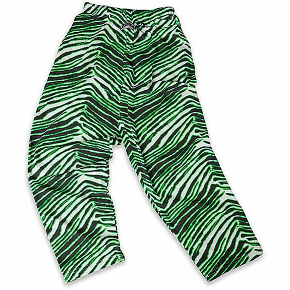 Zubaz Pants: Black/Neon Green Zubaz Zebra Pants