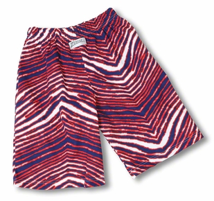Zubaz Shorts: Blue/Red Zubaz Zebra Shorts- Sold Out